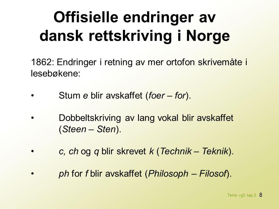 8 Offisielle endringer av dansk rettskriving i Norge 1862: Endringer i retning av mer ortofon skrivemåte i lesebøkene: •Stum e blir avskaffet (foer –