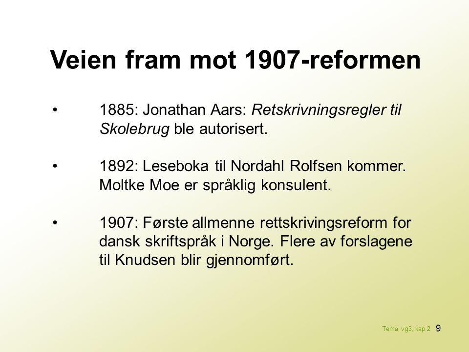 9 Veien fram mot 1907-reformen •1885: Jonathan Aars: Retskrivningsregler til Skolebrug ble autorisert. •1892: Leseboka til Nordahl Rolfsen kommer. Mol