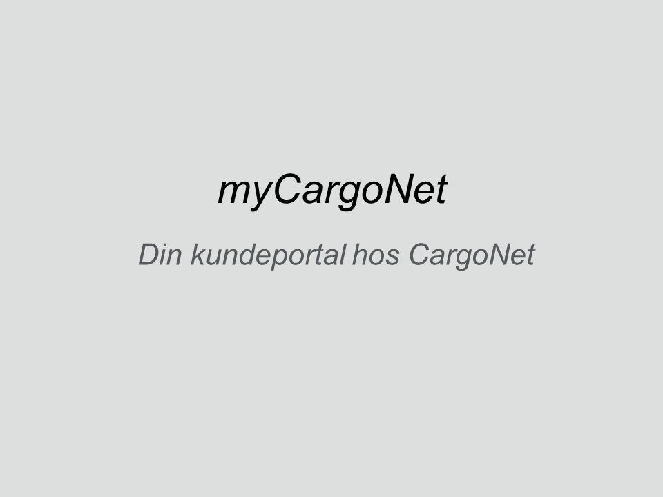 myCargoNet Din kundeportal hos CargoNet