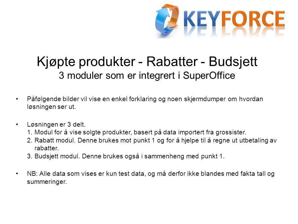Kjøpte produkter - Rabatter - Budsjett 3 moduler som er integrert i SuperOffice •Påfølgende bilder vil vise en enkel forklaring og noen skjermdumper om hvordan løsningen ser ut.
