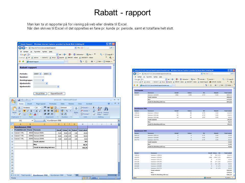 Rabatt - rapport Man kan ta ut rapporter på for visning på web eller direkte til Excel.