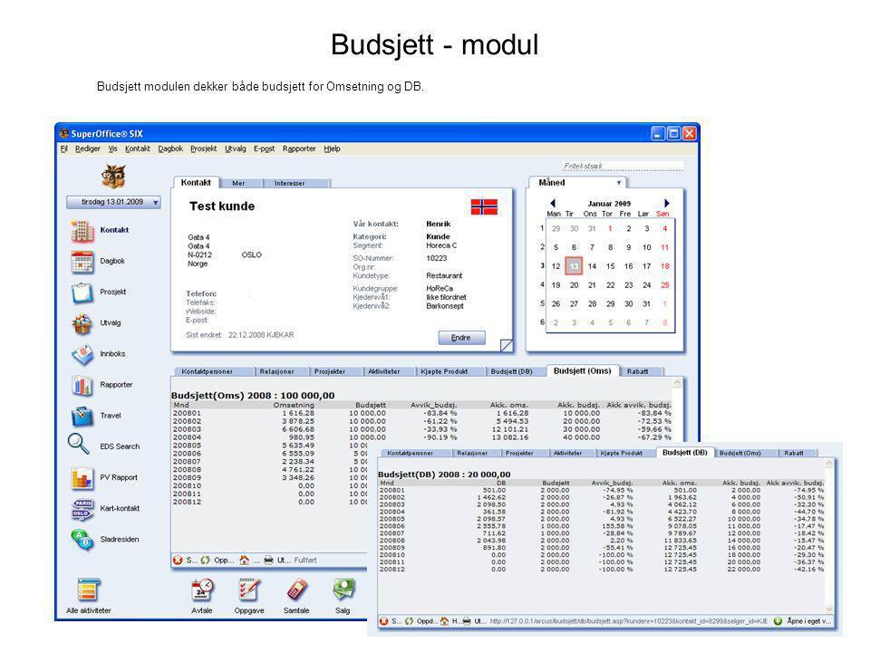 Budsjett - Admin Budsjett modulen dekker både budsjett for Omsetning og DB.