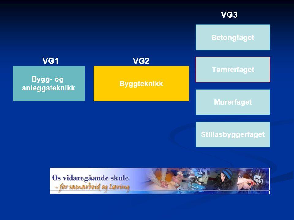 Bygg- og anleggsteknikk Byggteknikk VG1VG2 VG3 Tømrerfaget Murerfaget Betongfaget Stillasbyggerfaget