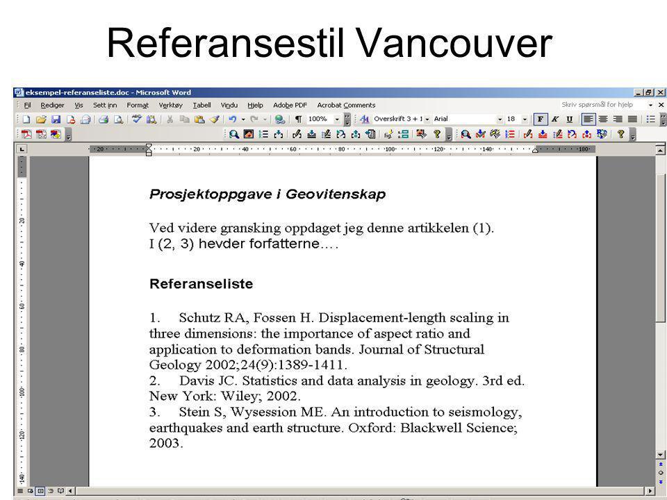 4 Referansestil Vancouver