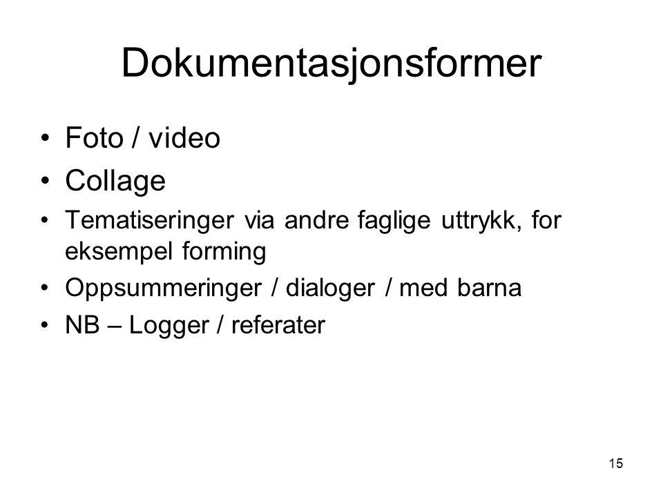 15 Dokumentasjonsformer •Foto / video •Collage •Tematiseringer via andre faglige uttrykk, for eksempel forming •Oppsummeringer / dialoger / med barna