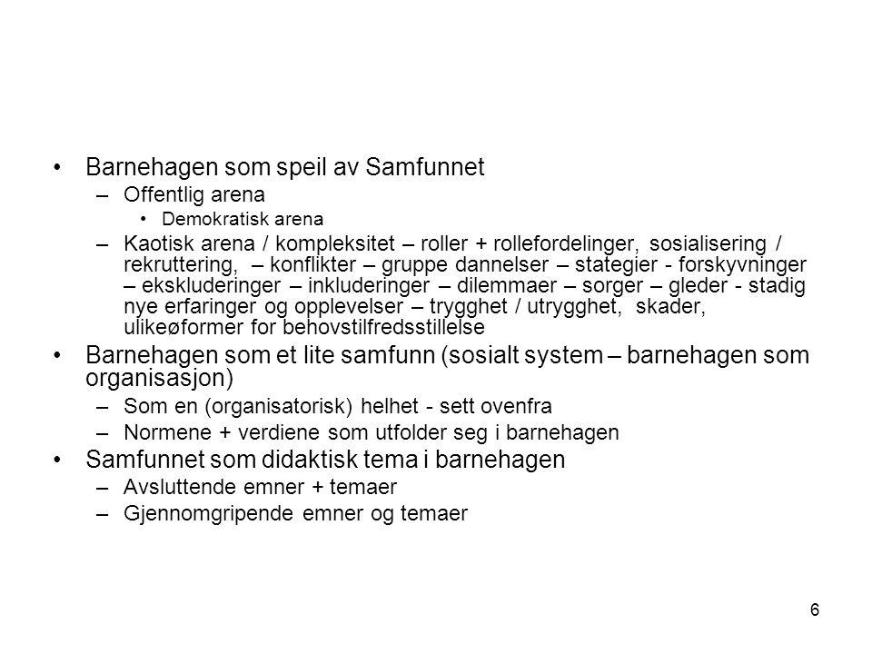6 •Barnehagen som speil av Samfunnet –Offentlig arena •Demokratisk arena –Kaotisk arena / kompleksitet – roller + rollefordelinger, sosialisering / re