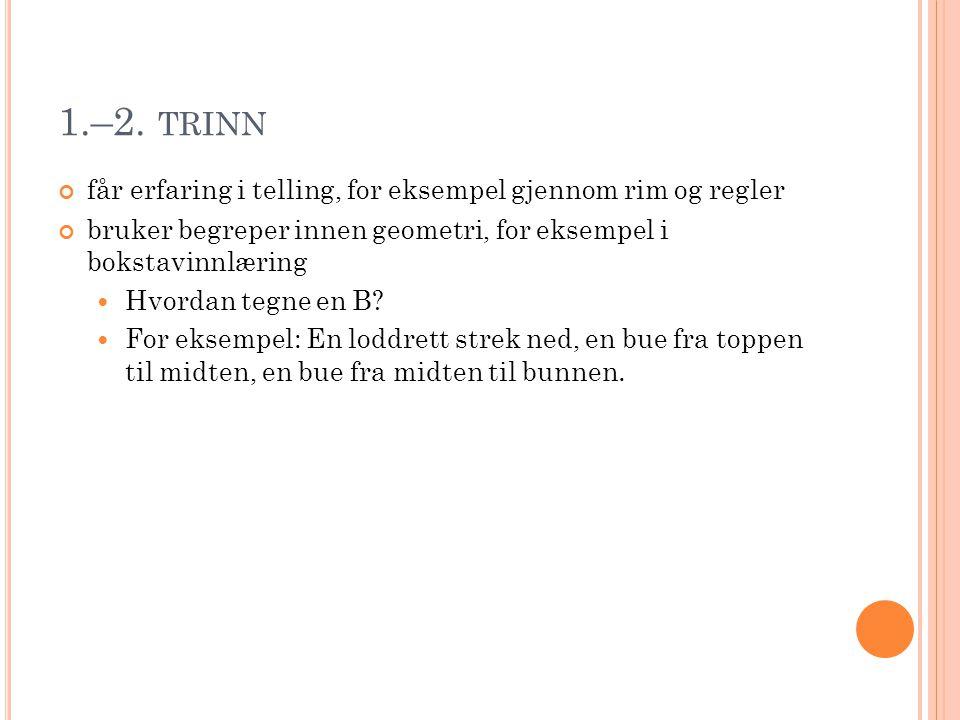 1.–2. TRINN får erfaring i telling, for eksempel gjennom rim og regler bruker begreper innen geometri, for eksempel i bokstavinnlæring  Hvordan tegne