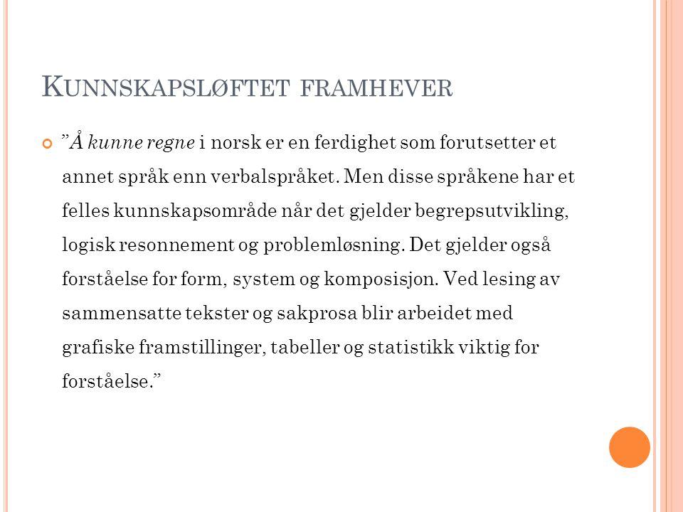 """K UNNSKAPSLØFTET FRAMHEVER """" Å kunne regne i norsk er en ferdighet som forutsetter et annet språk enn verbalspråket. Men disse språkene har et felles"""