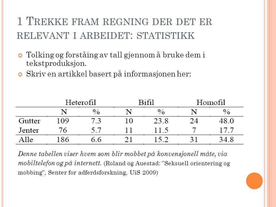 1 T REKKE FRAM REGNING DER DET ER RELEVANT I ARBEIDET : STATISTIKK Tolking og forståing av tall gjennom å bruke dem i tekstproduksjon. Skriv en artikk