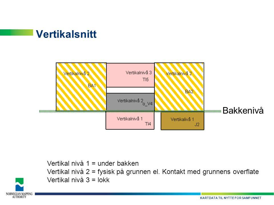 KARTDATA TIL NYTTE FOR SAMFUNNET Vertikalsnitt Bakkenivå Vertikal nivå 1 = under bakken Vertikal nivå 2 = fysisk på grunnen el. Kontakt med grunnens o