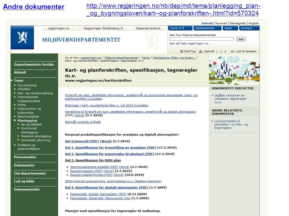 Andre dokumenter http://www.regjeringen.no/nb/dep/md/tema/planlegging_plan- _og_bygningsloven/kart--og-planforskriften-.html?id=570324