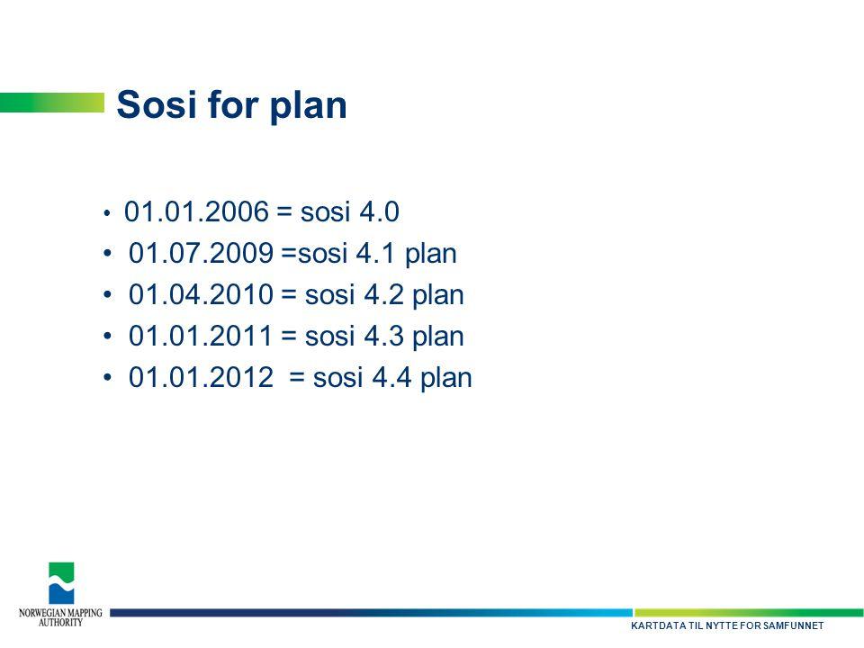 KARTDATA TIL NYTTE FOR SAMFUNNET Sosi for plan • 01.01.2006 = sosi 4.0 • 01.07.2009 =sosi 4.1 plan • 01.04.2010 = sosi 4.2 plan • 01.01.2011 = sosi 4.