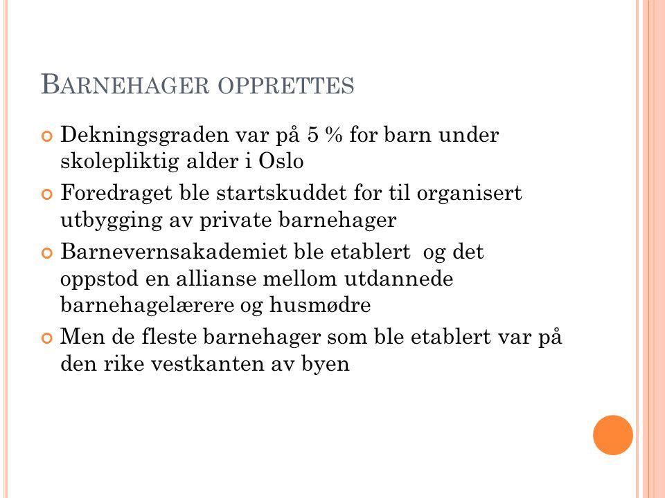 B ARNEHAGER OPPRETTES Dekningsgraden var på 5 % for barn under skolepliktig alder i Oslo Foredraget ble startskuddet for til organisert utbygging av p