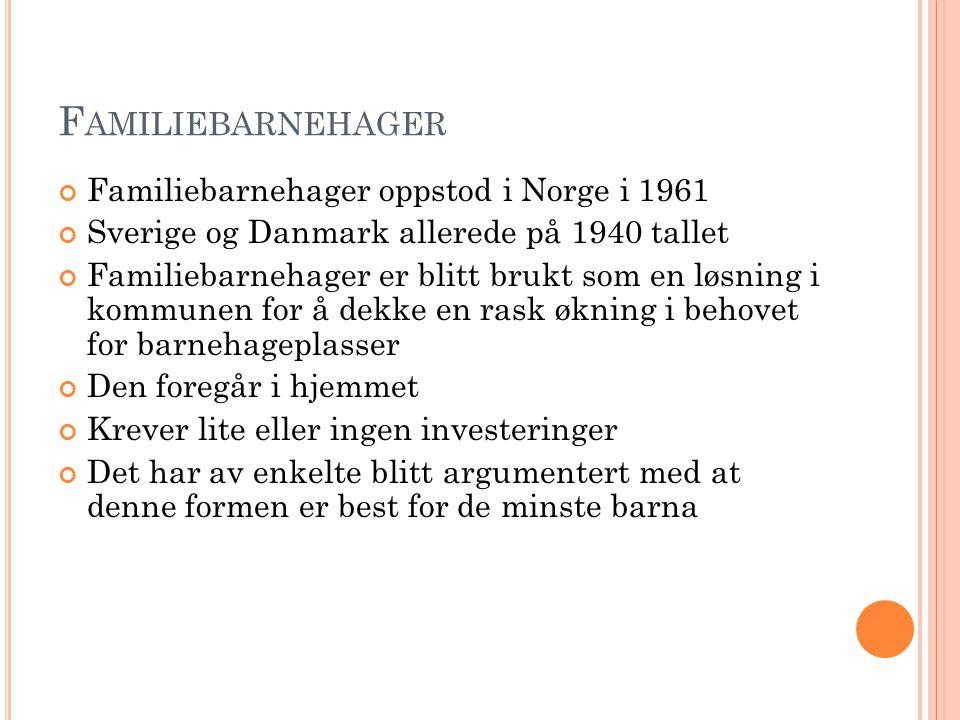F AMILIEBARNEHAGER Familiebarnehager oppstod i Norge i 1961 Sverige og Danmark allerede på 1940 tallet Familiebarnehager er blitt brukt som en løsning