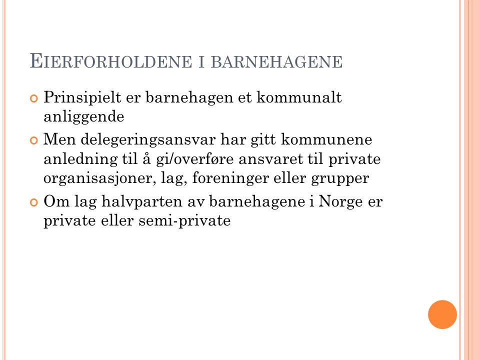 E IERFORHOLDENE I BARNEHAGENE Prinsipielt er barnehagen et kommunalt anliggende Men delegeringsansvar har gitt kommunene anledning til å gi/overføre a