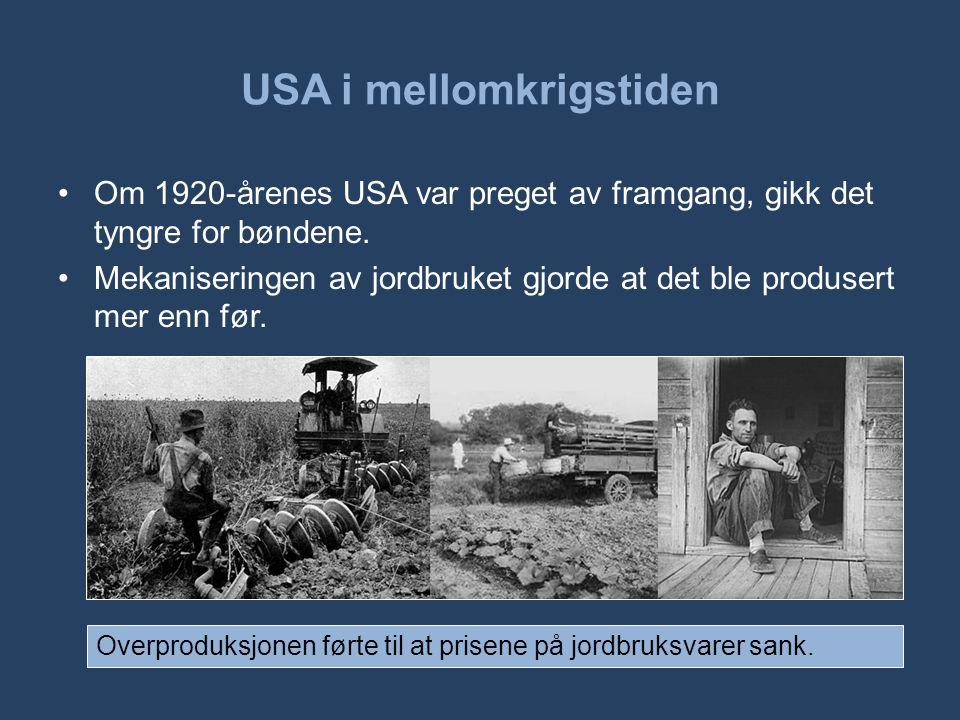 USA i mellomkrigstiden •Om 1920-årenes USA var preget av framgang, gikk det tyngre for bøndene. •Mekaniseringen av jordbruket gjorde at det ble produs