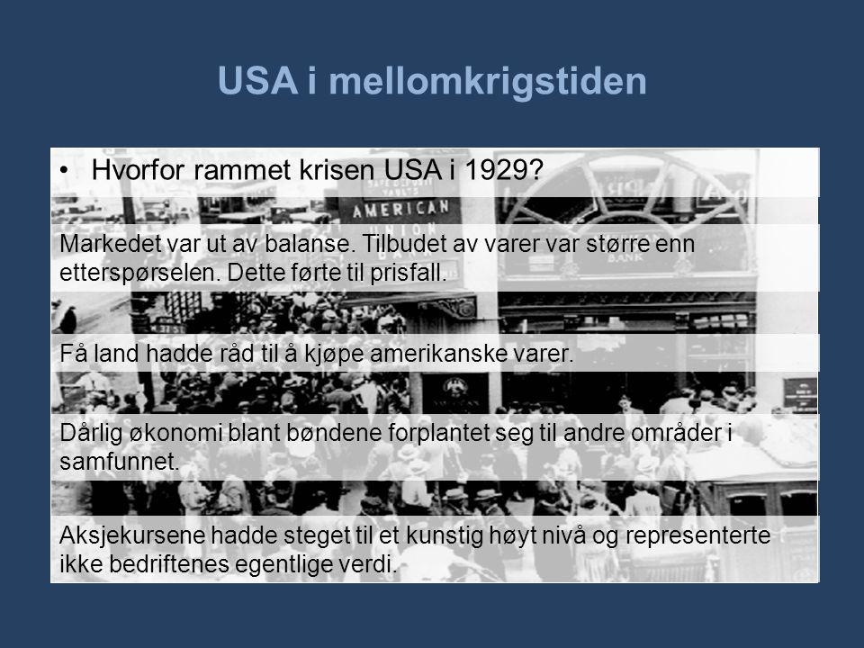 USA i mellomkrigstiden •Hvorfor rammet krisen USA i 1929? Markedet var ut av balanse. Tilbudet av varer var større enn etterspørselen. Dette førte til