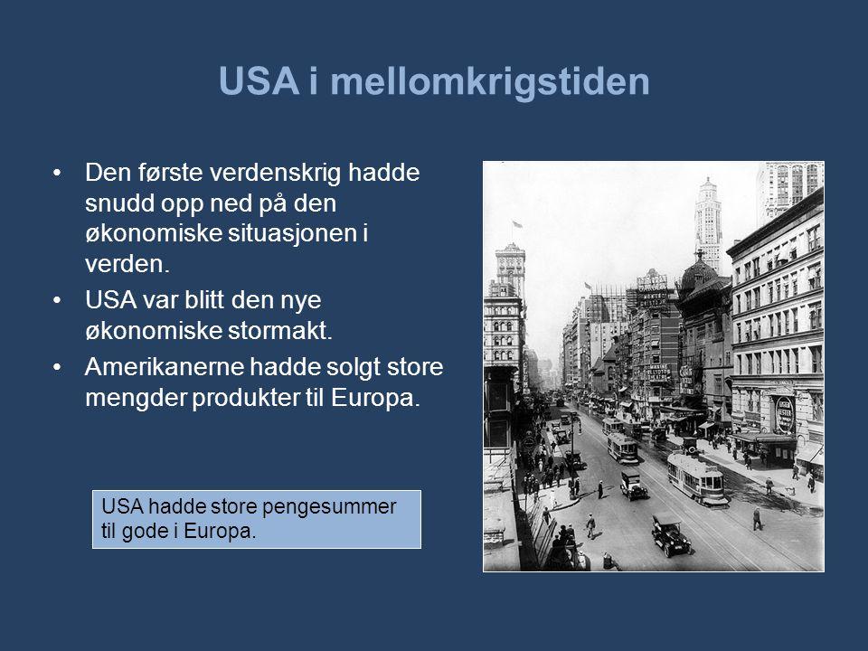 USA i mellomkrigstiden •Den første verdenskrig hadde snudd opp ned på den økonomiske situasjonen i verden. •USA var blitt den nye økonomiske stormakt.