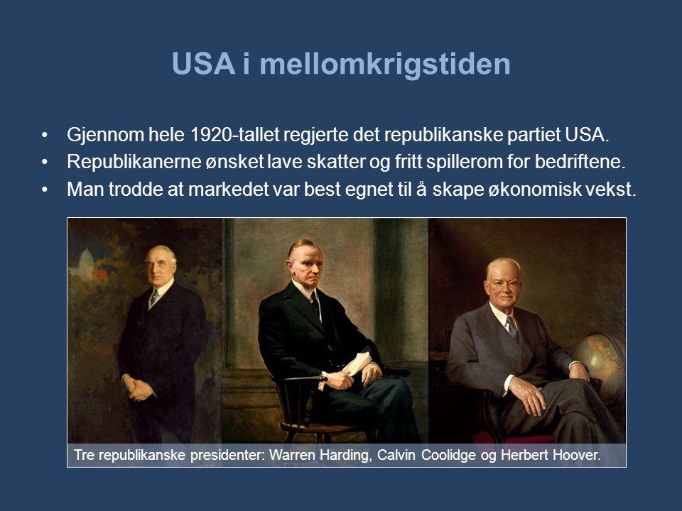 USA i mellomkrigstiden •Gjennom hele 1920-tallet regjerte det republikanske partiet USA. •Republikanerne ønsket lave skatter og fritt spillerom for be