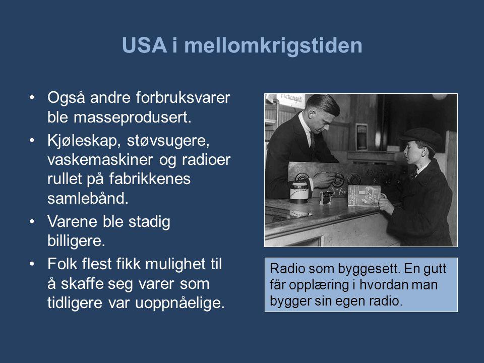 USA i mellomkrigstiden •Også andre forbruksvarer ble masseprodusert. •Kjøleskap, støvsugere, vaskemaskiner og radioer rullet på fabrikkenes samlebånd.