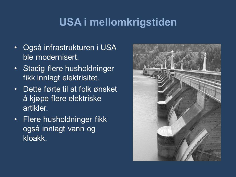 USA i mellomkrigstiden •Også infrastrukturen i USA ble modernisert. •Stadig flere husholdninger fikk innlagt elektrisitet. •Dette førte til at folk øn