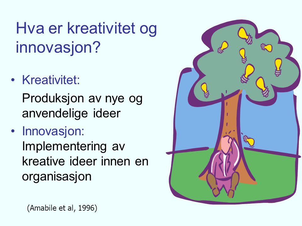 Kreativitetsbegrepets fasetter: o Kreative personer o Kreative omgivelser o Kreative prosesser o Kreative produkter