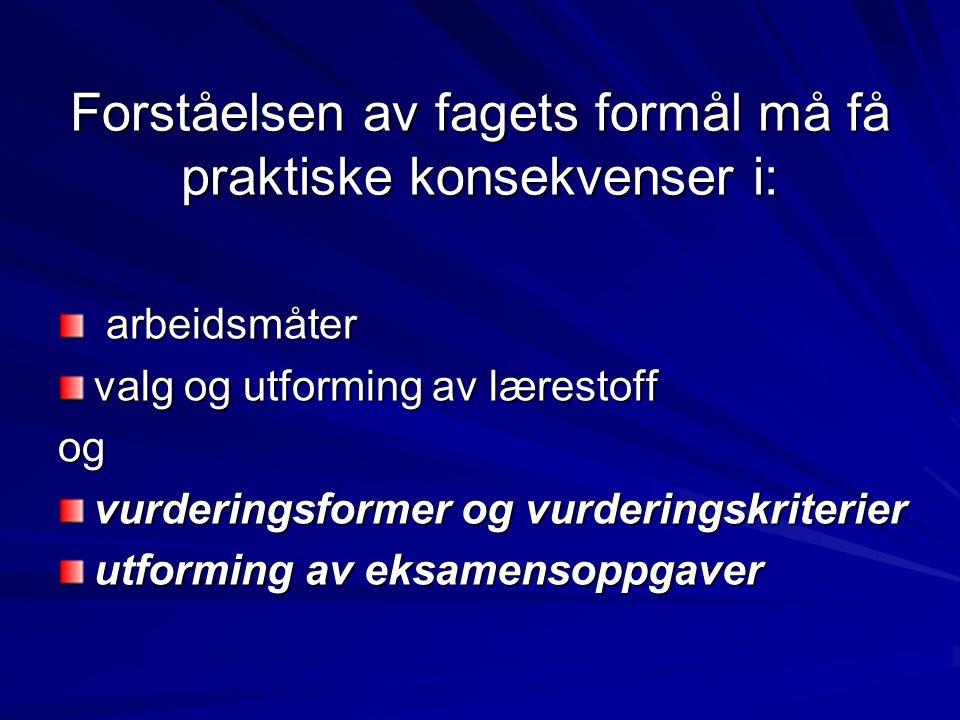 Øvelse 3 (5 min) Individuell karaktersetting etter hver enkelt eksamen Karakterene leveres inn til Harald
