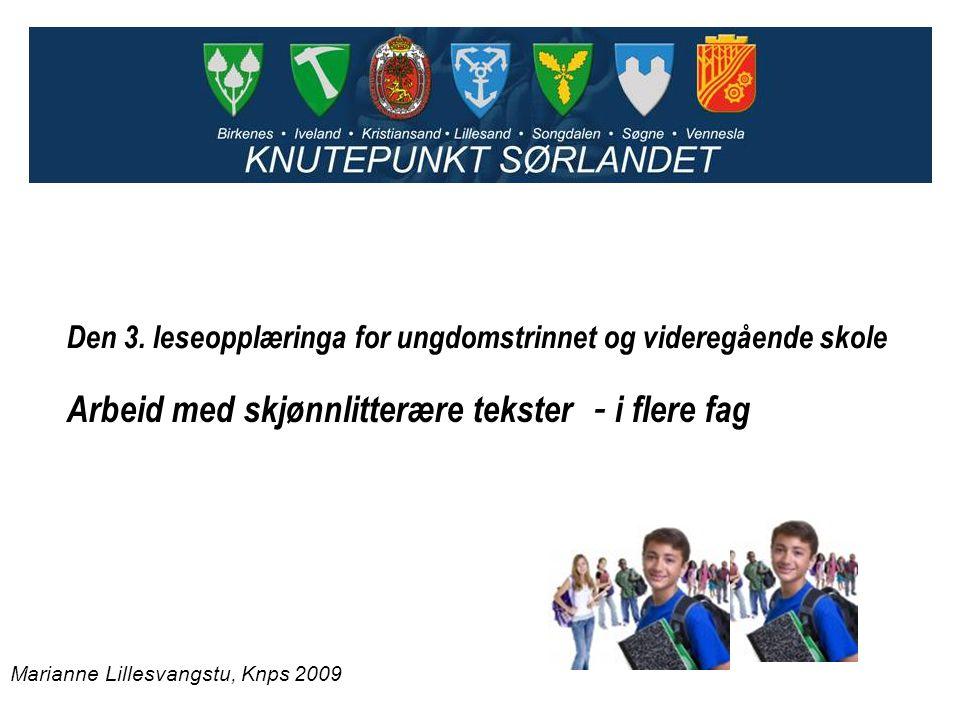 Arbeid med skjønnlitterære tekster - i flere fag Den 3. leseopplæringa for ungdomstrinnet og videregående skole Marianne Lillesvangstu, Knps 2009