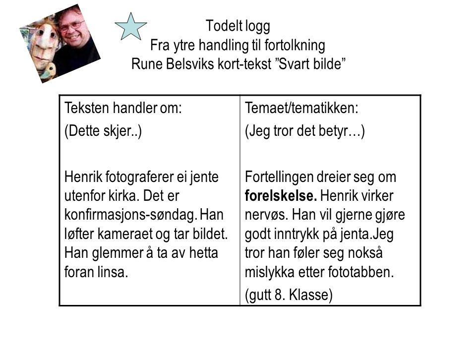 """Todelt logg Fra ytre handling til fortolkning Rune Belsviks kort-tekst """"Svart bilde"""" Teksten handler om: (Dette skjer..) Henrik fotograferer ei jente"""