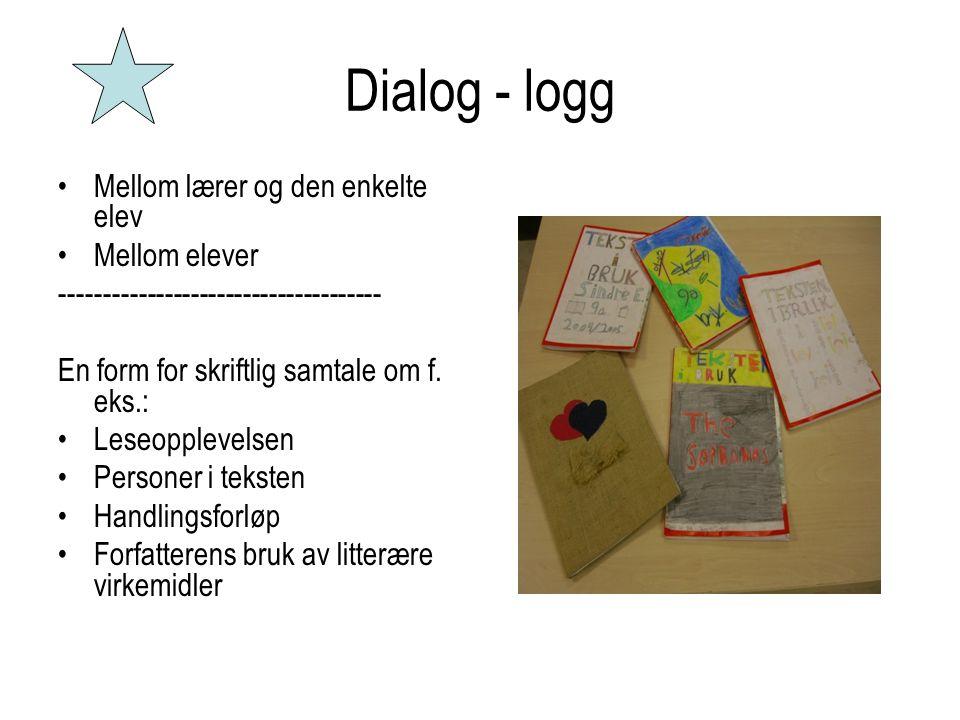Dialog - logg •Mellom lærer og den enkelte elev •Mellom elever ------------------------------------- En form for skriftlig samtale om f. eks.: •Leseop