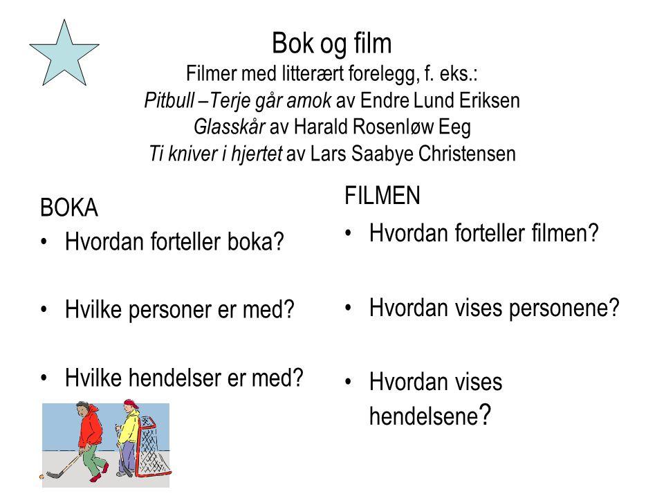 Bok og film Filmer med litterært forelegg, f. eks.: Pitbull –Terje går amok av Endre Lund Eriksen Glasskår av Harald Rosenløw Eeg Ti kniver i hjertet