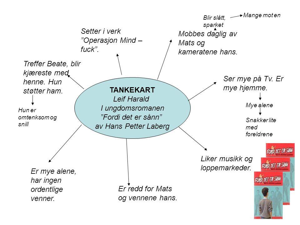 """TANKEKART Leif Harald I ungdomsromanen """"Fordi det er sånn"""" av Hans Petter Laberg Er redd for Mats og vennene hans. Er mye alene, har ingen ordentlige"""