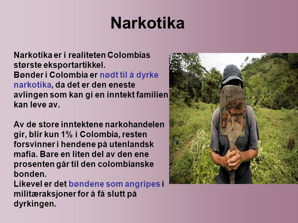 Narkotika er i realiteten Colombias største eksportartikkel.
