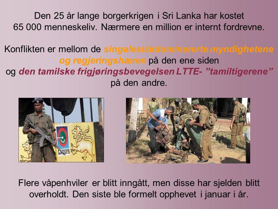 Den 25 år lange borgerkrigen i Sri Lanka har kostet 65 000 menneskeliv.