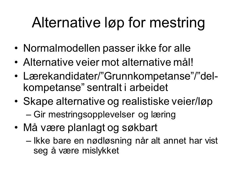 """Alternative løp for mestring •Normalmodellen passer ikke for alle •Alternative veier mot alternative mål! •Lærekandidater/""""Grunnkompetanse""""/""""del- komp"""