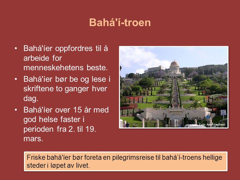 Bahá'í-troen •Bahá'íer oppfordres til å arbeide for menneskehetens beste. •Bahá'íer bør be og lese i skriftene to ganger hver dag. •Bahá'íer over 15 å