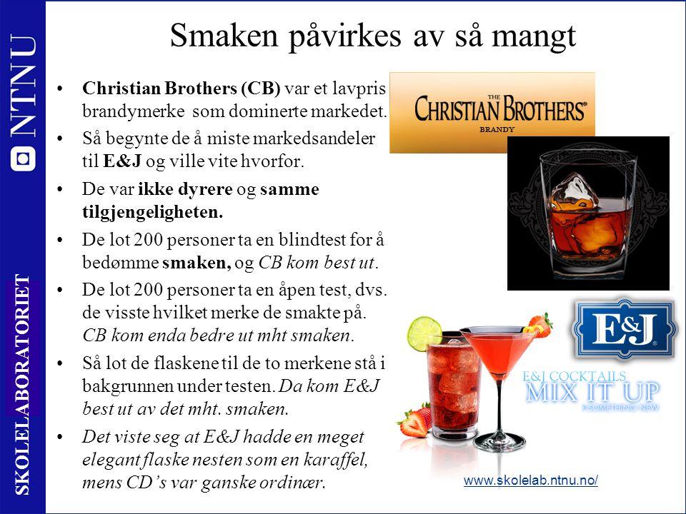19 SKOLELABORATORIET Smaken påvirkes av så mangt •Christian Brothers (CB) var et lavpris brandymerke som dominerte markedet. •Så begynte de å miste ma