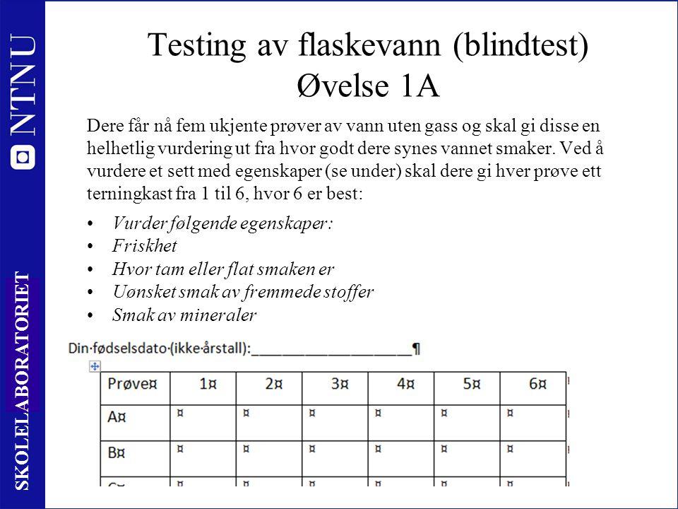 3 SKOLELABORATORIET Testing av flaskevann (blindtest) Øvelse 1A Dere får nå fem ukjente prøver av vann uten gass og skal gi disse en helhetlig vurderi