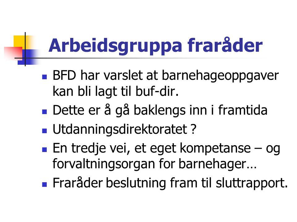 Arbeidsgruppa fraråder  BFD har varslet at barnehageoppgaver kan bli lagt til buf-dir.  Dette er å gå baklengs inn i framtida  Utdanningsdirektorat