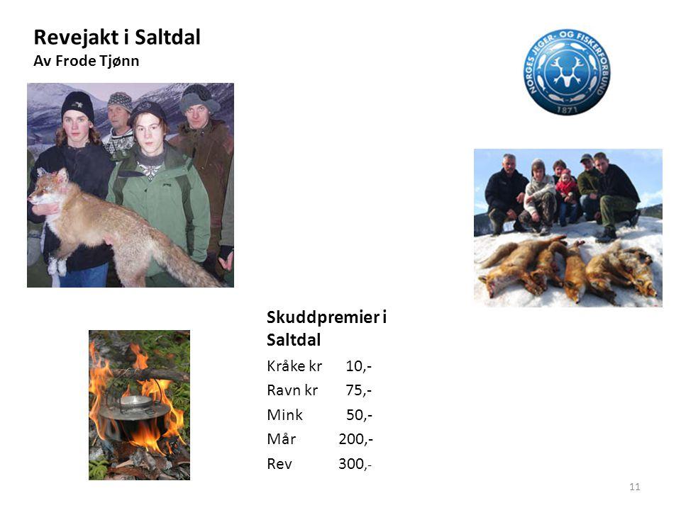Revejakt i Saltdal Av Frode Tjønn Skuddpremier i Saltdal Kråke kr 10,- Ravn kr 75,- Mink 50,- Mår 200,- Rev 300,- 11