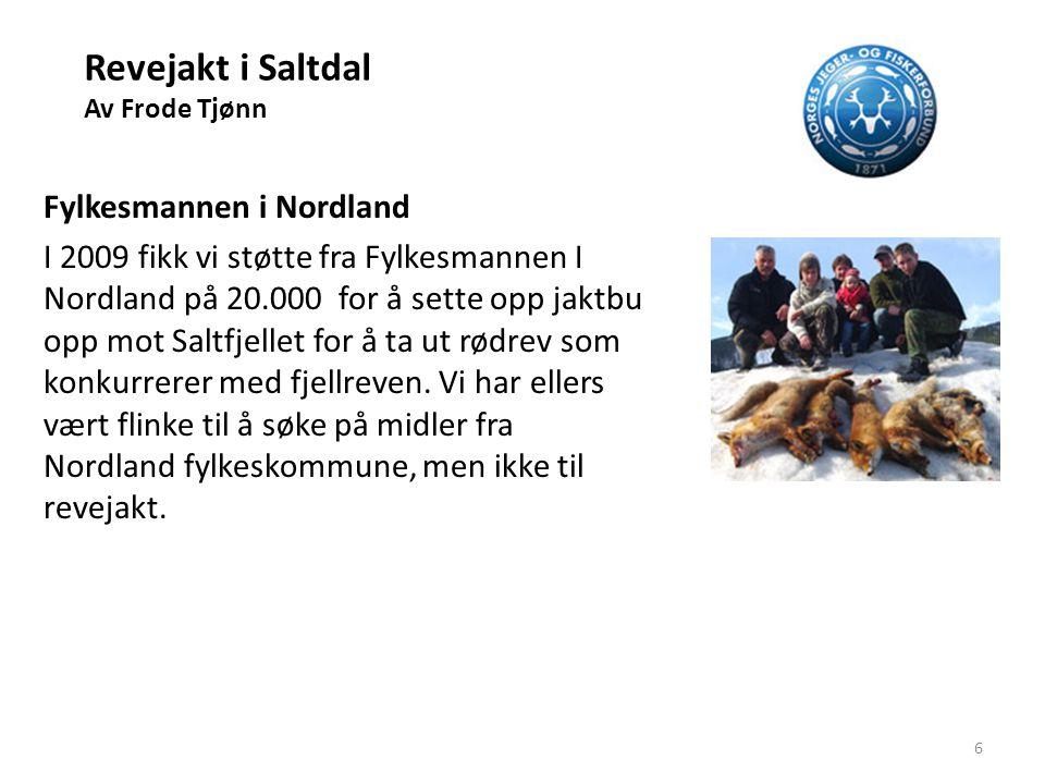 Revejakt i Saltdal Av Frode Tjønn Fylkesmannen i Nordland I 2009 fikk vi støtte fra Fylkesmannen I Nordland på 20.000 for å sette opp jaktbu opp mot S