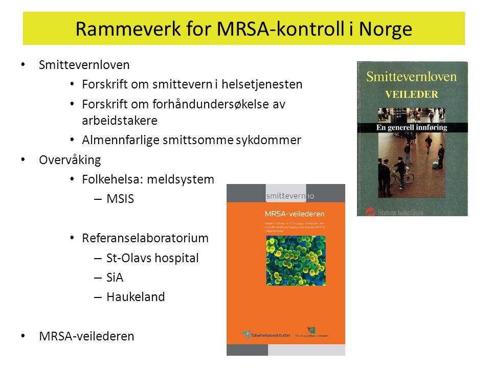 Rammeverk for MRSA-kontroll i Norge • Smittevernloven • Forskrift om smittevern i helsetjenesten • Forskrift om forhåndundersøkelse av arbeidstakere •