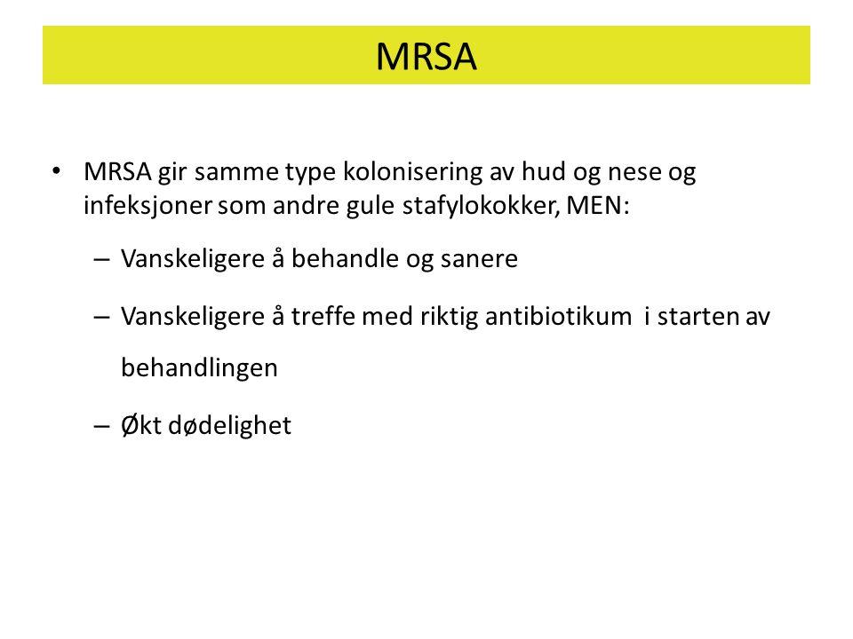 MRSA • MRSA gir samme type kolonisering av hud og nese og infeksjoner som andre gule stafylokokker, MEN: – Vanskeligere å behandle og sanere – Vanskel