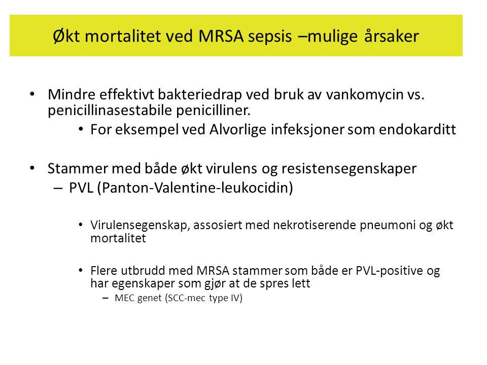 Økt mortalitet ved MRSA sepsis –mulige årsaker • Mindre effektivt bakteriedrap ved bruk av vankomycin vs. penicillinasestabile penicilliner. • For eks