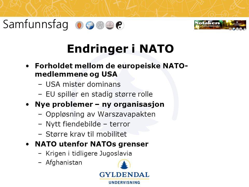 Endringer i NATO •Forholdet mellom de europeiske NATO- medlemmene og USA –USA mister dominans –EU spiller en stadig større rolle •Nye problemer – ny organisasjon –Oppløsning av Warszavapakten –Nytt fiendebilde – terror –Større krav til mobilitet •NATO utenfor NATOs grenser –Krigen i tidligere Jugoslavia –Afghanistan