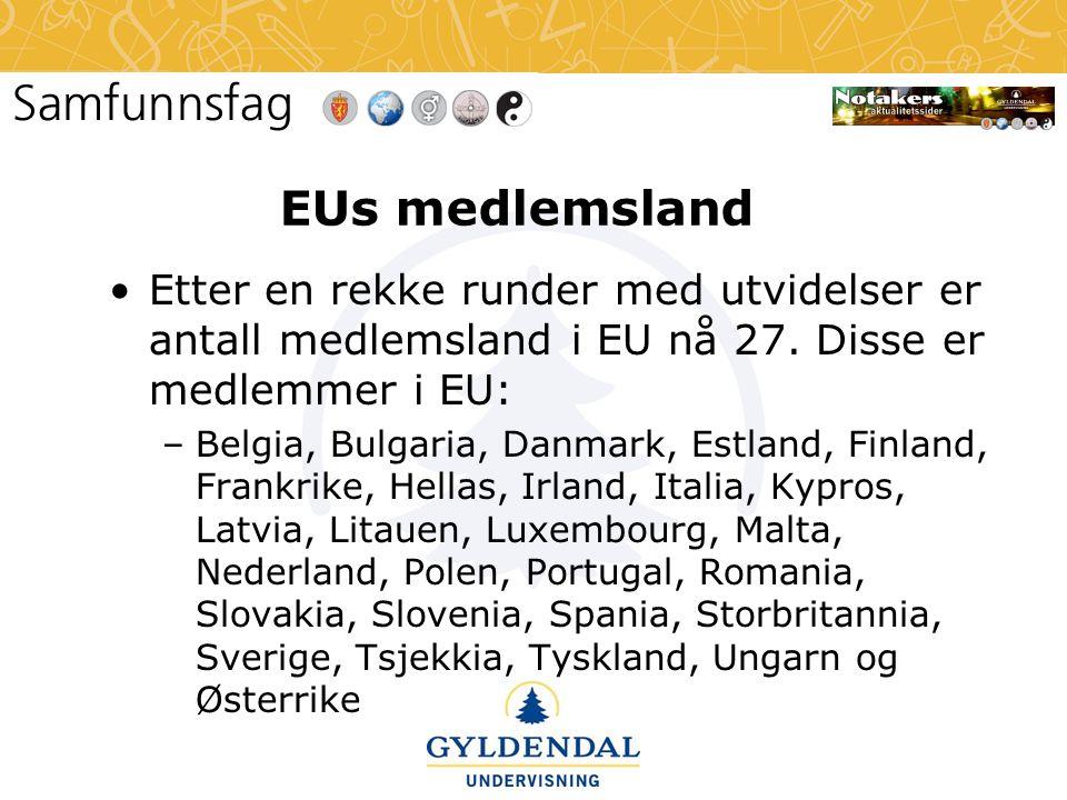 EUs medlemsland •Etter en rekke runder med utvidelser er antall medlemsland i EU nå 27. Disse er medlemmer i EU: –Belgia, Bulgaria, Danmark, Estland,