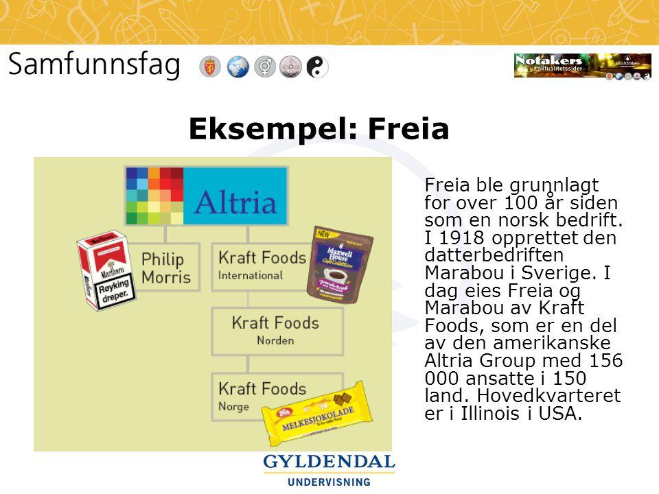 Eksempel: Freia Freia ble grunnlagt for over 100 år siden som en norsk bedrift. I 1918 opprettet den datterbedriften Marabou i Sverige. I dag eies Fre