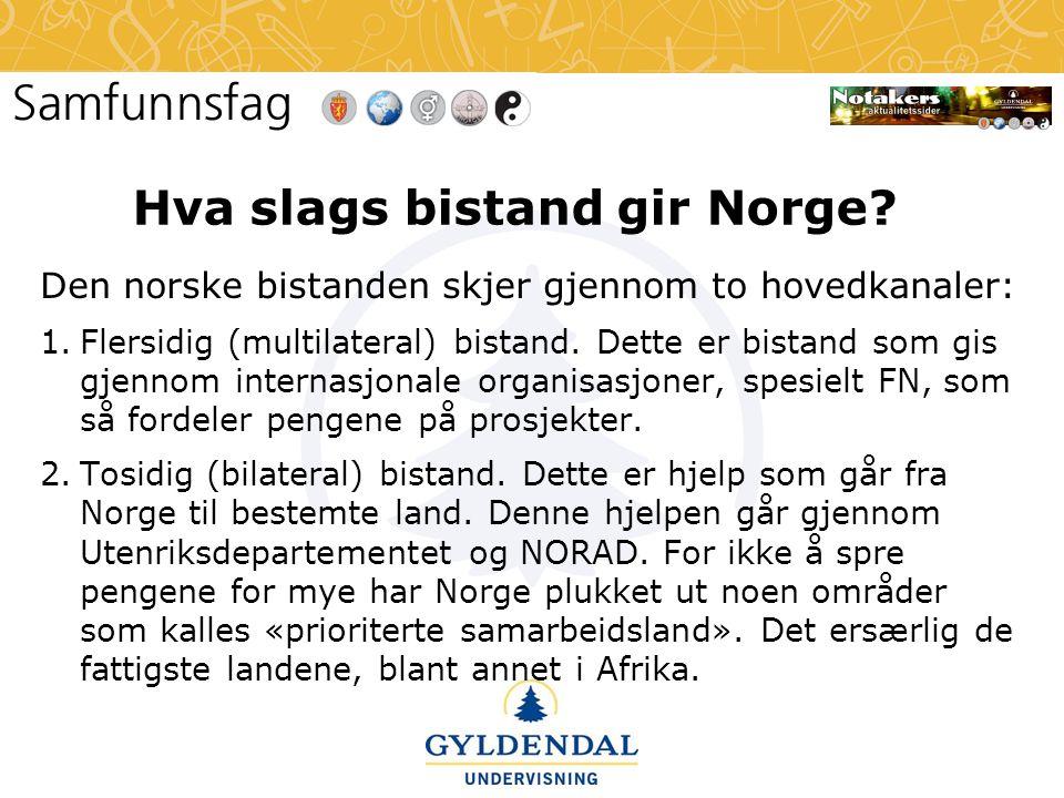 Hva slags bistand gir Norge? Den norske bistanden skjer gjennom to hovedkanaler: 1.Flersidig (multilateral) bistand. Dette er bistand som gis gjennom