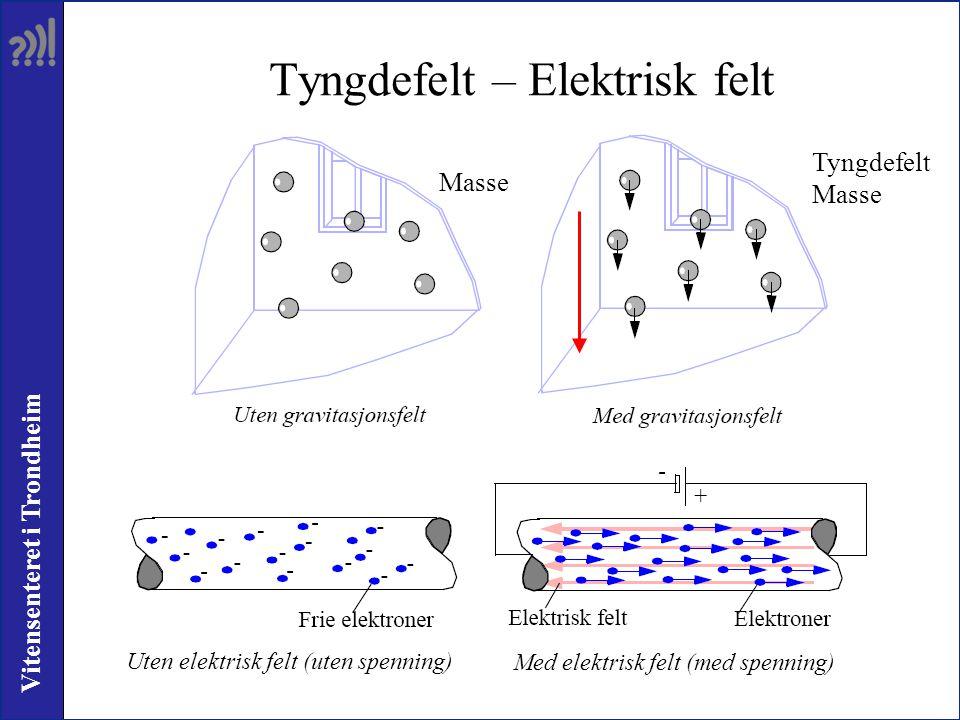 Vitensenteret i Trondheim Tyngdefelt – Elektrisk felt Tyngdefelt Masse Uten elektrisk felt (uten spenning) Med elektrisk felt (med spenning)