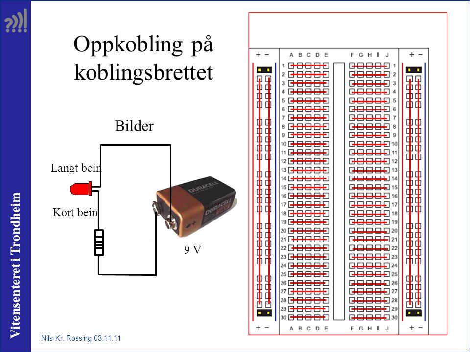 Vitensenteret i Trondheim Oppkobling på koblingsbrettet Nils Kr. Rossing 03.11.11 Kort bein Langt bein 9 V Bilder